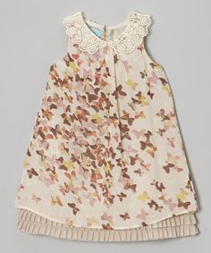 Blush Butterfly Chiffon Collar Dress - Toddler & Girls