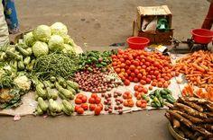 Étal de légume au marché d'Analakely.