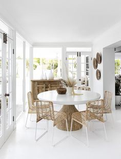 Dining Nook, Dining Room Design, Dining Chairs, White Dining Table Modern, Rattan Chairs, Dining Room Inspiration, Home Decor Inspiration, Design Inspiration, Home Interior