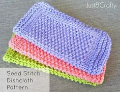 Brighten up your kitchen and these Seed Stitch Dishcloths! Free pattern on Justbcrafty.com