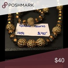 Necklace set Golden Acorns is a necklace, earrings and bracelet set. Jewelry Necklaces