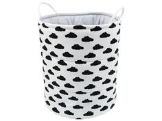 Cotton basket, Decorative basket, Basket for toys, - Black clouds on white Childrens Teepee, Teepee Kids, Teepee Tent, Fabric Bunting, Bunting Banner, Cotton Mats, Storing Blankets, Basket Lighting, Black Clouds