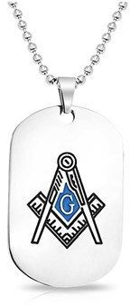 Bling Jewelry Blue Enamel Freemason Dog Tag Pendant Stainless Steel Necklace 20 Inches.