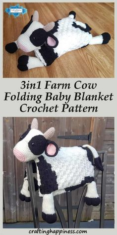 How cute is this baby blanket! Keep your baby warm while they play with the cow toy. Fold it away and instantly transforms into a happy cow decoration for your themed nursery room. Crochet a fluffy cow baby blanket that makes the perfect baby shower gift Crochet C2c, Crochet Blanket Patterns, Baby Blanket Crochet, Easy Crochet, Crocheted Baby Blankets, Crochet Toys, Free Crochet, Corner To Corner Crochet Blanket, Cow Toys