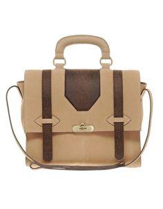 Love this functional bag! ASOS Leather Snake Panel Satchel Bag