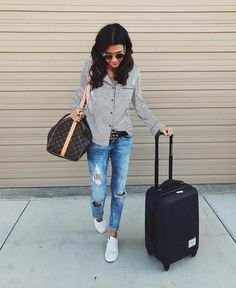 Insta Roundup | Hello Fashion. Striped pajama style shirt+distressed denim+white sneakers+black Gucci belt+Louis Vuitton bag+sunglasses. Fall Travel Outfit 2016