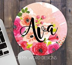 Personalized Mouse Pad-Round Mouse Pad-Monogram by OhMyWordDesigns Wood Plank Art, Wood Art, Word Design, Personalized Name Plates, Wood Block Crafts, Wooden Shapes, Watercolor Flowers, Dot Painting, Flower Frame