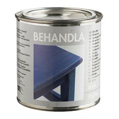 Ikea BEHANDLA Glazing paint, blue.  For untreated wood; gives a durable and hardwearing surface.  $6 for 13 oz.