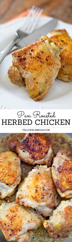 Pan Roasted Herbed Ckicken, deliciously savory and so easy to make. For an MRC menu use chicken breast.