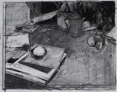 "Lemon, Black Bowl and Books - Charcoal on paper, 19"" x 21"" Drawing by Alex Fowler"