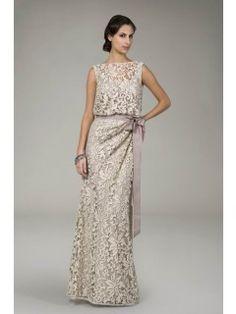 Hot Selling Elegant Column Bateau Neckline Sleeveless Sash Decorated Long Embroidered Lace Evening Dresses Under $200 ED-2251