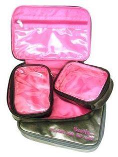 Miamica Inner Beauty 3 Piece Metallic Silver Medium Travel Cosmetic Case Makeup Beauty Toiletry Bag & Organizer miamica. $32.99