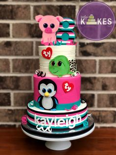 All 3 tiers iced in Buttercream. Baby Birthday Cakes, Twin Birthday, Ty Peluche, Beanie Boo Party, Beanie Boo Birthdays, Ty Stuffed Animals, Cowgirl Cakes, Animal Cakes, Fondant Decorations