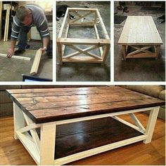 Ideas How To Make A Coffee Table Using DIY Coffee Table Plans Coffee table made easy! The post Ideas How To Make A Coffee Table Using DIY Coffee Table Plans appeared first on Pallet Diy. Diy Coffee Table Plans, X Coffee Table, Rustic Coffee Tables, Country Coffee Table, Wood Table, Rustic Wood Coffee Table, How To Build Coffee Table, Farmhouse Style Coffee Table, Rustic Couch