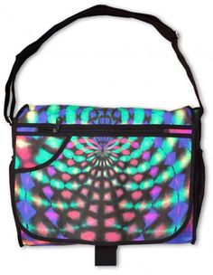 "Messenger Bag : Rainbow Web  UV active shoulder bag with 7 pockets / compartments.  Strong & light, but large enough to carry your files, books & a 15"" laptop.  Chunky clip to secure the bag flap.  3 Internal & external zip pockets.  2 side pockets & another in the flap for quick access to drinks, maps, keys etc.  Secret stash pocket ! (Can you find it ?)"