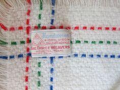 Orlon Acrylic Blanket Baby White Red Blue Green Cars Three Weavers Handwoven