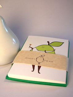 Gourmand Pear blank note card  set of 4 color by AngryPear on Etsy, $10.00  cute card