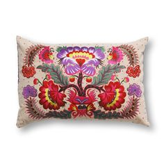 Colorique - Limited edition filled cushion! All-over, refined embroidery in the tradition of original Vietnamese design (35 x 50 cm), 100% cotton.