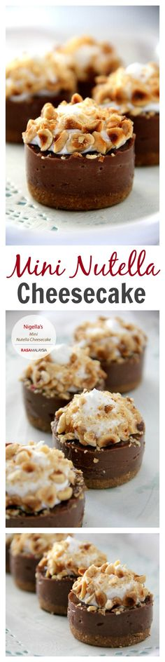 Mini Nutella CheesecakeYour favorite Nutella cheesecake in a cupcake size. Amazing mini Nutella cheesecake that is rich, creamy, sweet, and easy to make. Mini Desserts, Just Desserts, Delicious Desserts, Yummy Food, Delicious Cupcakes, Plated Desserts, No Bake Nutella Cheesecake, Cheesecake Recipes, Dessert Recipes