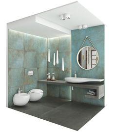 Mint Bathroom, Art Deco Bathroom, Bathroom Trends, Downstairs Bathroom, Bathroom Interior, Small Half Bathrooms, Bathroom Design Small, Modern Shower, Modern Bathroom