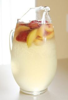The Perfect White Wine Sangria! Really- just made a double batch for a girls night in and it was gone! Add peach schnapps instead of all the peach juice and fresh peach slices
