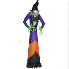 Blow Up Scary Spooky Witch Airblown Inflatable Halloween Yard Decoration Red Eye #GemmyIndustries