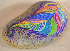 Paint Rock-Feather Doodle Zentangle by LisaFrick on Etsy: