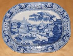 DAVENPORT VIEW OF THE IMPERIAL PARK AT GEHOL BLUE  WHITE PLATTER C1820