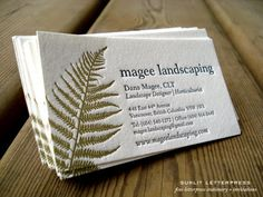 above is a photo of custom letterpress business cards we designed and printed for local landscape designer dana magee