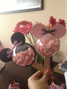 How clever are these party favors for a pink Minnie Mouse birthday party! See more party ideas at CatchMyParty.com.
