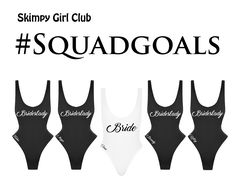 Customize the ultimate Girl Club suits to represent your clique! Choose from our Classic Skimpy One Piece or our Signature Skimpy Two Piece Bikini. Perfect for a Bridal Entourage, Special Ladies Trip, Sorority Sisters or for any of your #SquadGoals to stand out in a crowd! Each Skimpy can be personalized with a uniform heat transferred statement graphic and or custom embroidery so each Skimpy is extra special.
