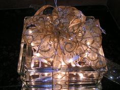 Illuminated Glass Block, You can change it up with different ribbon and colored lights.... beautiful!  Have one of these and absolutely love it!