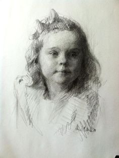 Charcoal portrait of a young girl. Drawing by Abigail McBride
