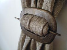 Curtain Holdback in Oval Distressed Wood by CurtainsByJackieDix