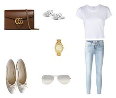 """""""166 outfit"""" by julieannbb13 on Polyvore featuring Frame Denim, Chanel, Gucci, Glitzy Rocks, Ray-Ban and Michael Kors"""
