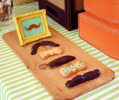 Chocolate mustaches, bowtie cookies Little Man Baby Shower Saffron & Indigo