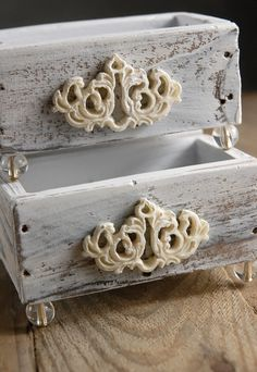 Beautiful rustic boxes. Would be so pretty with some flowers in them!