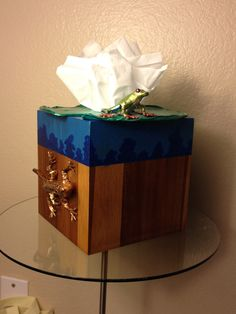 Tissue Box. Bamboo tissue box cover with baked clay Lilly pad, frog and lizard.  Painted in metallic paint.