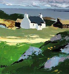 Donald Mcintyre (British, Light, Cuil Phail, Iona Cottages on a Cliff Llanllechid Roa. Green Landscape, Landscape Art, Landscape Paintings, Landscapes, Acrylic Paintings, Oil Paintings, Watercolor Paintings, Local Painters, Cottage Art