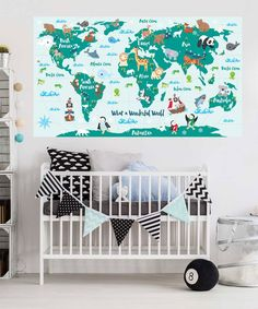 Huge map of the world playroom decal world map wall decals kids our what a wonderful world map decal will educate and inspire all adventure seekers this gumiabroncs Images