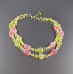 Pink Givre and Yellow Glass Bead Necklace 1960's by Vintagesiamese, $28.00