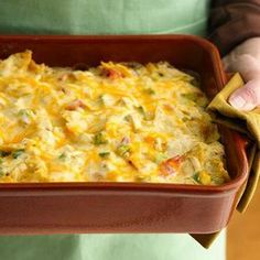 Rotel Chicken Mexican Casserole | MyRecipes.com  3 cube(s) chicken breasts  1 bag(s) tortilla chips  1 can(s) rotel  1 can(s) cream of chicken soup 1 can(s) sm. chopped green chili 1 pound(s) shredded cheddar cheese