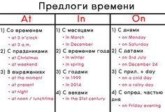 Предлоги времени в английском языке: at, in, on English Grammar For Kids, English Vocabulary Words, Learn English Words, English Phrases, English Book, English Study, English Lessons, Teaching English, Russian Language Learning