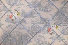 toile memo board | ... Laura Ashley Blue Toile Hand Crafted Fabric Notice / Pin / Memo Board
