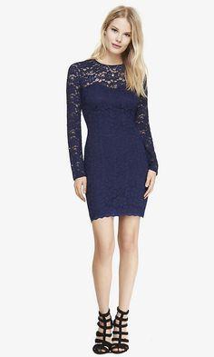 Blue Lace Illusion Back Sheath Dress  $98.00 $59.99