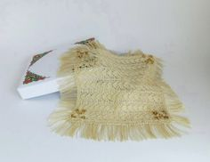 12th scale Dollhouse Miniature Square Shawl in Shantung Style Spun Silk Thread Hand Knit for Lady Doll  - Golden Beige