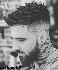 44 Top Disconnected Undercut Hairstyles (Highly Recommended) - Page 14 Undercut With Beard, Undercut Long Hair, Faux Hawk Hairstyles, Undercut Hairstyles, Hair And Beard Styles, Curly Hair Styles, Faux Hawk Men, Drop Fade Haircut, Punk