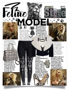 """""""Feline Model Style"""" by jaymagic ❤ liked on Polyvore featuring NOVICA, WithChic, Diane Von Furstenberg, GUESS, Hublot, Amanda Rose Collection, Kate Spade, Eyeko and Jean Patou"""