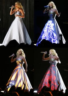 "Award-winning country singer Carrie Underwood performed her new single ""Blown Away"" at the 2013 Grammy Awards, but it was her unique light-up dress that stole the show."