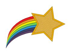 Shooting Star Rainbow Tail Embroidery Machine by OCDEmbroidery Shooting Star Clipart, Rainbow Drawing, Keychain Design, Falling Stars, Clipart Black And White, Machine Embroidery Patterns, Shooting Stars, Star Designs, Star Patterns